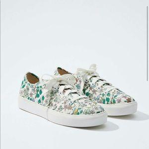 LOFT Floral Lace Up Sneakers